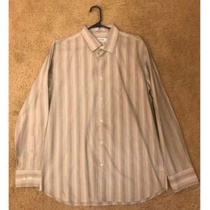 Calvin Klein Grey/ White Striped Long Sleeve Shirt